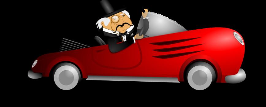 Homme riche dans une voiture décapotable rouge