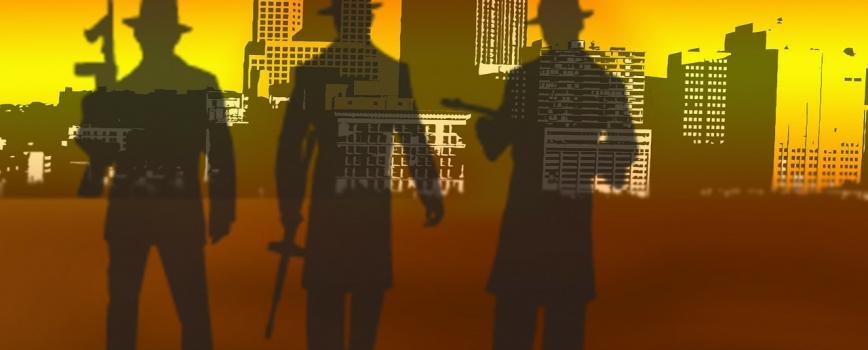 3 gangsters et une ville en fond