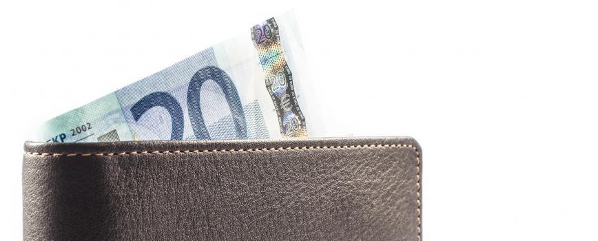 Porte monnaie en cuir billet de 20 euros