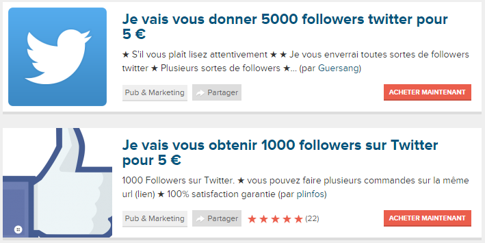 Vente de followers pour twitter