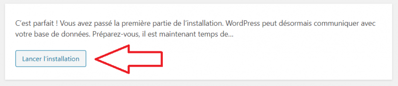 On lance l'installation de WordPress