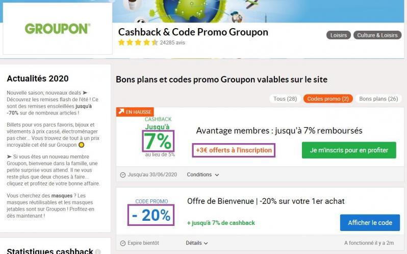 Exemple cashback et code promo cumulable groupon