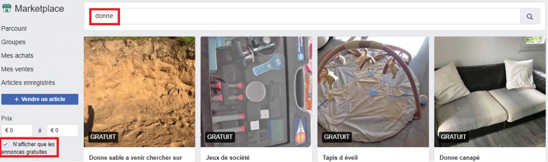 Exemple d'objets gratuits sur facebook marketplace