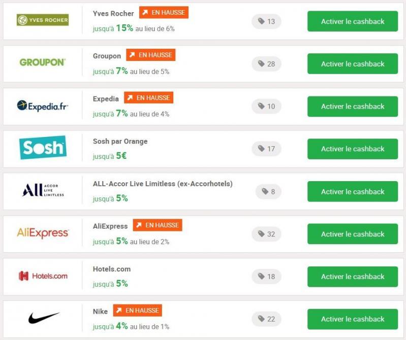 Exemples d'offres de cashback disponibles sur iGraal