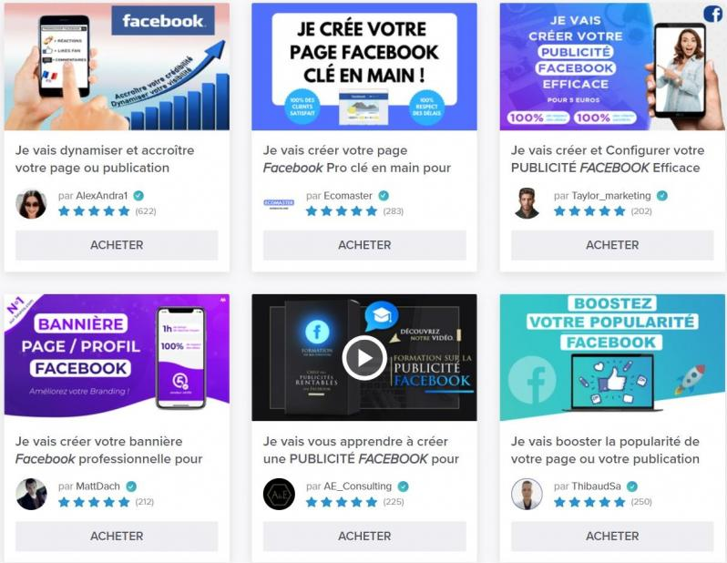 Exemples de services facebook en vente sur 5euros