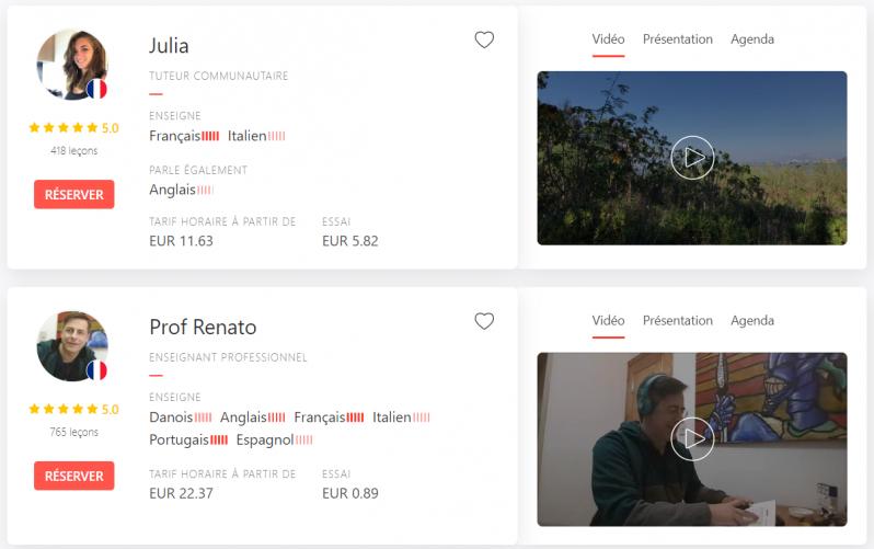Exemples de professeurs d'italien en ligne sur italki