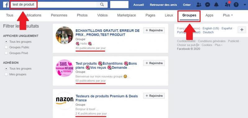 Groupes Facebook de tests de produits