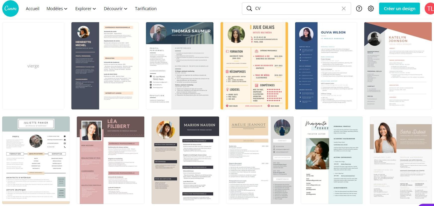 Modèles de CV personnalisables sur Canva