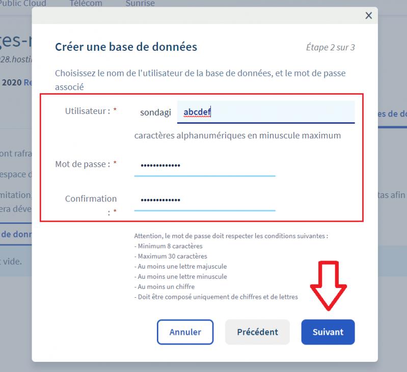 Nom d'utilisateur et mot de passe de la base de données