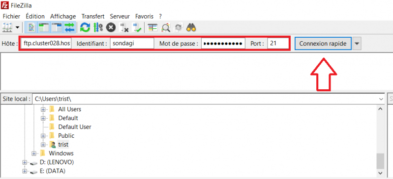 Se connecter sur filezilla