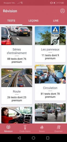Les séries d'entraînements au code de la route par thème