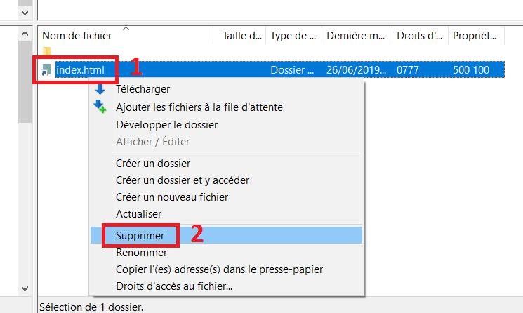 Supprimer le dossier index.html