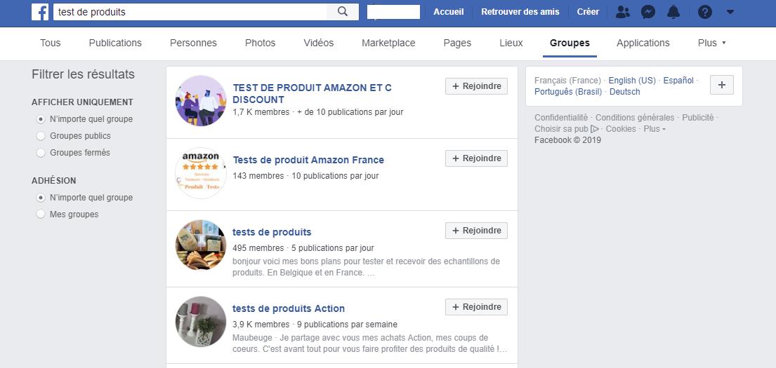 Test de produit gratuit groupe facebook
