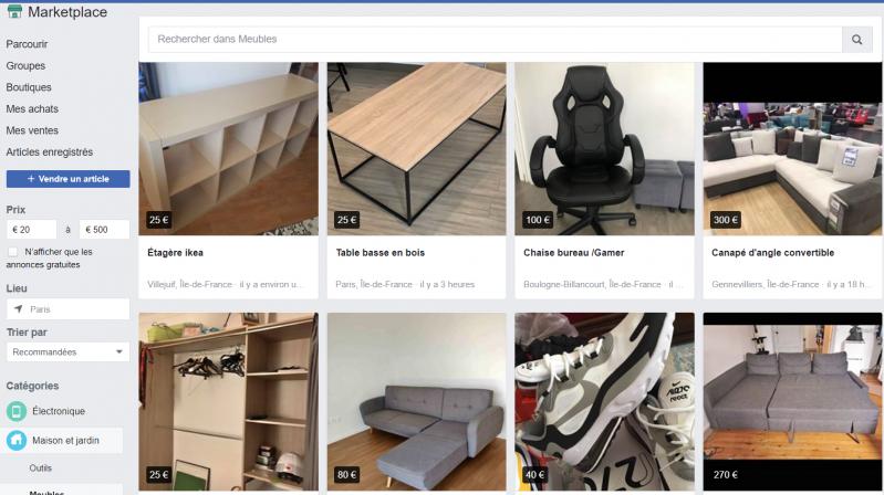 Vendre ses objets d'occasion sur Facebook Marketplace